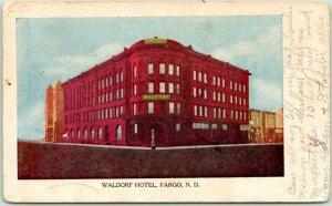 Fargo, North Dakota Postcard WALDORF HOTEL Building Street View 1910 ND Cancel