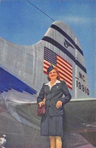 Pan American Flight Attendant Stewardess Linen Postcard