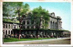 Vtg Cartolina Denver Colorado Co 1945 Union Station Street Vista W Auto