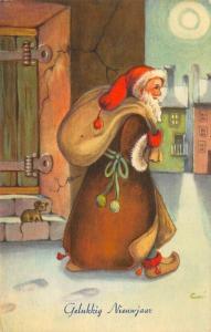 Artist Guni Christmas Brown Robed Santa Claus With Toy Bag Sweden Postcard