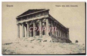 Postcard Old Girgenti Tempio della Concordia detto
