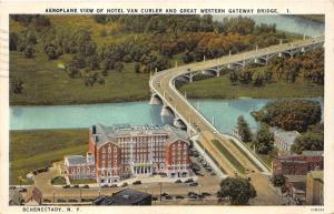 Schenectady New York~Hotel Van Curler & Great Western Gateway Bridge~1928 Pc