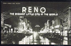 Nevada RENO'S Famous Arch Black/White Postcard by Conoco Touraide Advertisement