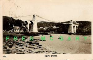 1909 Menai Strait Wales RPPC: Early Suspension Bridge