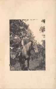 Real Photo Postcard~Man in Boater Hat Sits Sidesaddle~Bareback on Horse~1915
