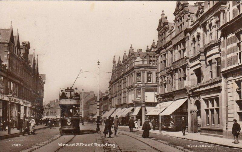 RP: READING , England , 1913 ; Broad Street , Tram