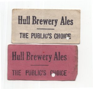 Hull Brewery Yorkshire Real Ales Bus 2x Old Transport Ticket s