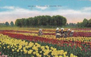 Michigan Holland Dutch Girls At Van Bragt Tulip Fields Curteich