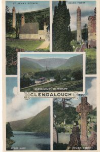 GLENDALOUGH,  Ireland, 1900-1910s; 5-Views, St. Kevin's Cross, Round Tower