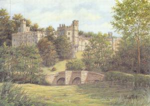 Postcard Art Haddon Hall, Derbyshire by Sue Firth Large 170x120mm
