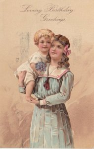 BIRTHDAY, PU-1908; Girl holding her little brother, Bouquet of Violets, PFB 7095