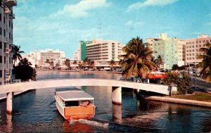 Florida Miami Beach Sightseeing Boat On Indian Creek 1960