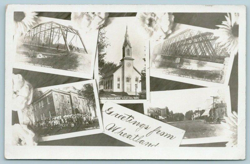 Wheatland IA~Art Nouveau Sunflowers~Bridges~School Kids~Main St~Church RPPC 1915