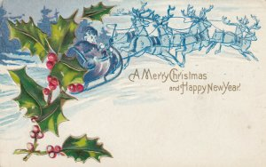 CHRISTMAS & HAPPY NEW YEAR, 1909; Santa, Reindeer & Holly branch