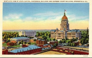Illinois Springfield Birds Eye View State Capitol Centennial Building and Sup...