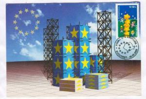 Maximum postcard; 50 de ani de la Declaratia Lui Robert Schuman , Romania, 09...