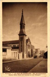 CPA PARIS 20e La vue de Quartier 20 Arrondissement Eglise Notre-Dame de (254847)