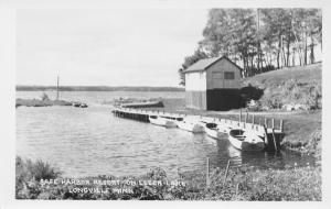Longville Minnesota~Safe Harbor Resort~Leech lake~Fish House~Rowboats~1960s RPPC