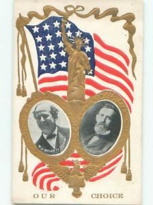 1908 Rare WILLIAM JENNINGS BRYAN FOR PRESIDENT WITH VP J.W. KERN SHOWN AC0888