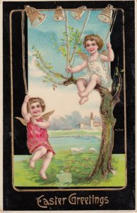 PU-1912; Easter Greetings, Two Little Angels Ringing Bells