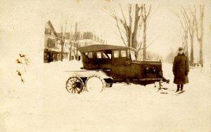 NH - North Conway, Circa 1924. Frank Littlefield & His Snowmobile   *RPPC