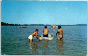 Traverse City, Mich Postcard NATIONAL SUMMER PALAESTRUM Gymnastics Camp Elk Lake