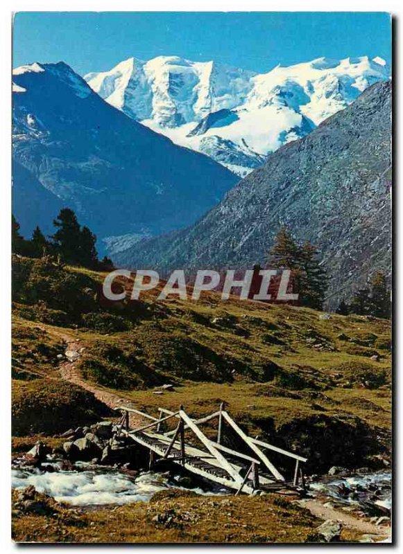 Postcard Modern mit Blick von Alp Languard Piz Palu und Bellavista