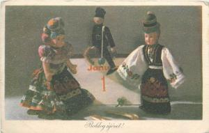 Hungary New Year greetings folk dressed puppets 1st of January chimney sweep