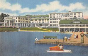 Saranac Lake New York Saranac Inn Boat Dock Vintage Postcard JB626241