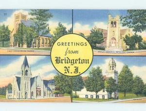 Unused Linen FOUR VIEWS ON CARD Bridgeton - Near Vineland New Jersey NJ ho7993