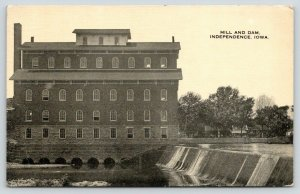 Independence Iowa~Close Up Wapsipinicon Feed Mill & Dam~1919 Sepia Postcard