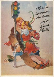 August Lengauer humour comic beer drunk couple caricatures near traffic lights