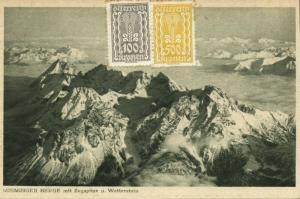 austria, MIEMINGER BERGE mit Zugspitze und Wetterstein, Tyrol (1924) Postcard