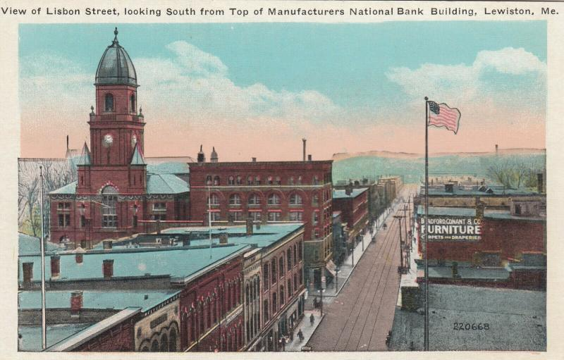 LEWISTON, Maine, 00-10s; View of Lisbon St., South, From top of Manufacturers Na
