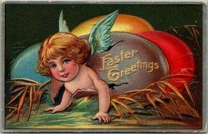 Vintage 1909 EASTER Embossed Postcard Angel Girl Hatching from Colored Egg