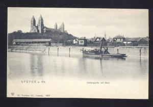 SPEYER A. RH. HAFENPARTIE MIT DOM GERMANY ANTIQUE VINTAGE POSTCARD