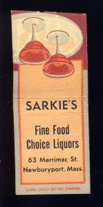 Newburyport, Massachusetts/Mass/MA Matchcover, Sarkie's Restaurant