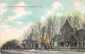 C66/ Hartington Nebraska Ne Postcard 1909 A Residence Street Homes
