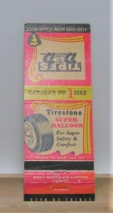 FIRESTONE Tires Dickinson and Dunn Canada Vintage Matchbook Cover
