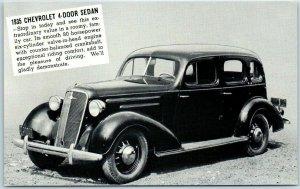 Monticello Ind. Car Ad Postcard 1935 CHEVROLET 4-DOOR SEDAN Lakes Motor Sales