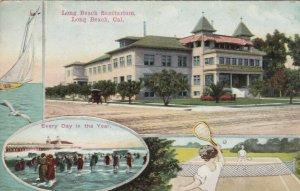 LONG BEACH, CA, 1900-10s; Long Beach Sanitarium, Sail Boat, Pier & Tennis