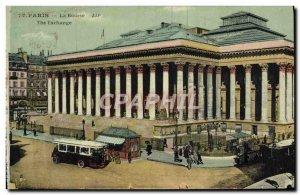 Old Postcard Paris Bourse Bus