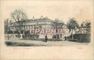 Old Postcard Caen place prefecture (map 1900)