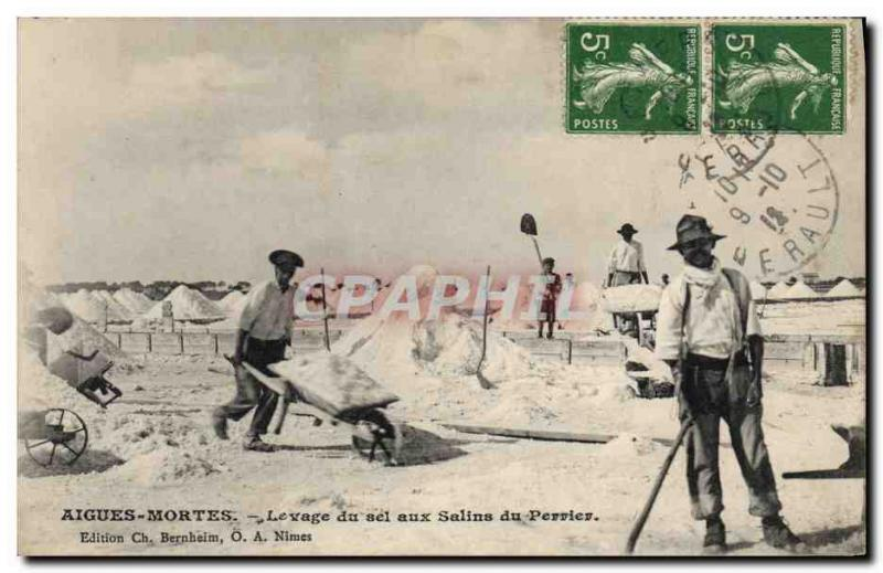 VINTAGE POSTCARD Acute Dead Lifting of salt to saline of the