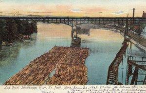 ST. PAUL, Minnesota, 1907; Log Float, Mississippi River