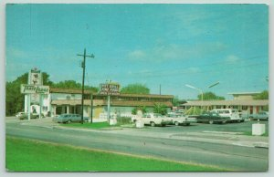 Austin Texas~Travel Lodge~Motel~Neon Sign~Restaurant~60s Cars~Panel Truck~1960s