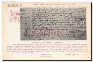Old Postcard Napoleon 1st Act of Baptism July 21, 1771 Ajaccio Corsica
