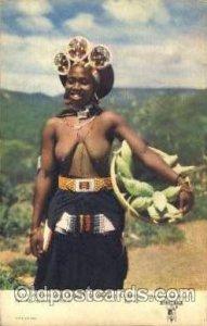 Zulu Woman & Basket of Mealies (Corn) African Nude Unused close to perfect