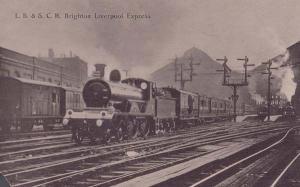 Brighton Liverpool Train Express Antique Postcard