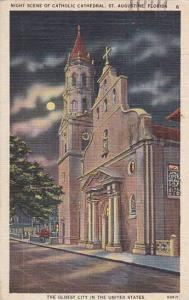 Florida Saint Augustine Night Scene Of Catholic Cathedral The Oldest City In ...